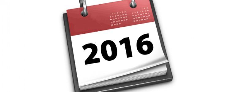 2016 en un calendario